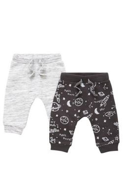 F&F 2 Pack of Space Dye and Space Print Joggers - Grey & Black