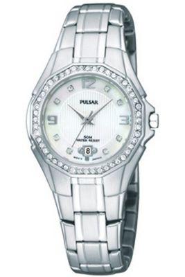 Pulsar Ladies Stone Set Bezel MOP Stone Dial Watch PXT797X1