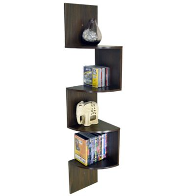 Moar - Large Wall Mounted Curved Corner Storage Shelf - Walnut