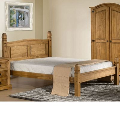 Happy Beds Corona Wood Low Foot End Bed with Open Coil Spring Mattress - Waxed Pine - 4ft Small Double