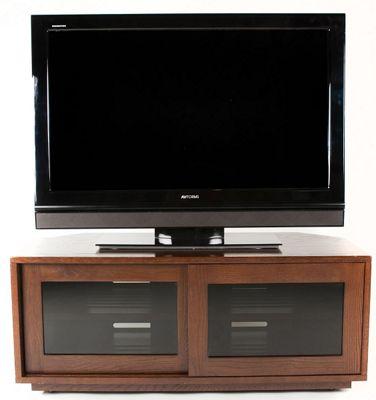 Optimum Warm Oak TV Cabinet with Remote Friendly Glass