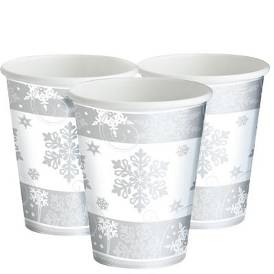Sparkling Snowflake Paper Party Cups - 255ml - 8 Pack
