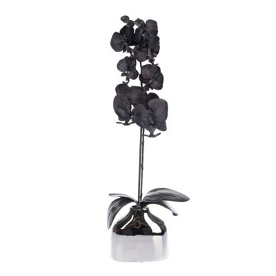 Homescapes Black Orchid Tall Artificial Plant with Contemporary Chrome Vase