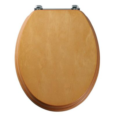 Tavistock Premier ANTIQUE PINE Wood Veneer Toilet Seat with Bar Hinges and Non-slip Buffers