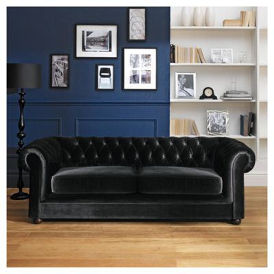 Chesterfield Velvet Effect Medium 3 Seater Sofa, Black