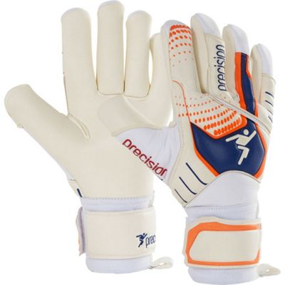 Precision Gk Fusion Pro Junior Goalkeeper Gloves Size 6 White/Blue/Orange