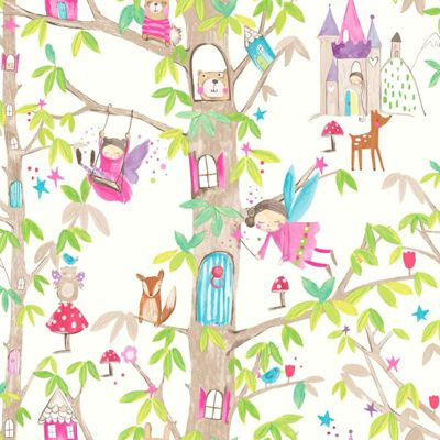 Woodland Fairies Glitter Wallpaper - White - Arthouse 667001