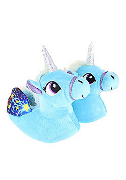 Children's Kids Girls Pastel Blue Unicorn Slippers With Wings - Blue