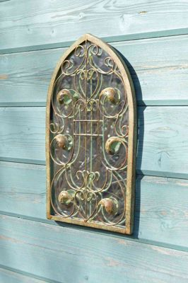 Large Rustic Design Arch Scroll Ornate Garden Wall Mirror Metal Country 40X24cm