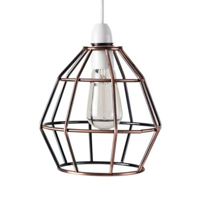 Modern Angus Open Cage Ceiling Light Pendant Shade, Brushed Copper