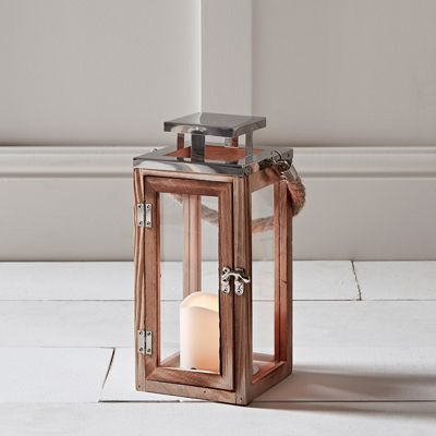 Regular Wooden Battery LED Candle Lantern with Rope Handle