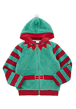 F&F Fleece Elf Christmas Hoodie - Green & Red