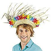 Adults Hawaiian Aloha Straw Hat with Flowers Fancy Dress Accessory