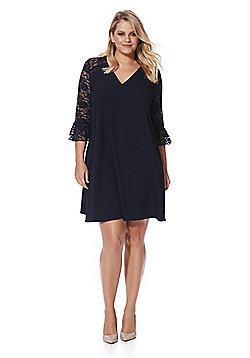 Lovedrobe Lace Yoke Bell Sleeve Swing Plus Size Dress - Navy