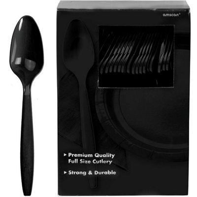 Black Plastic Spoons - 100 Pack