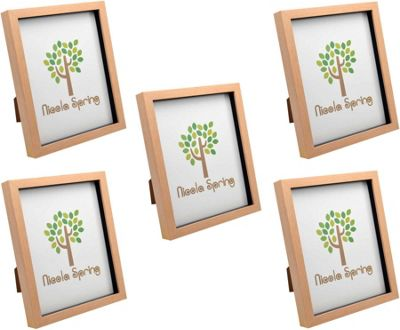 Light Wood Effect 8x10 Box Photo Frame - Standing & Hanging - Pack of 5