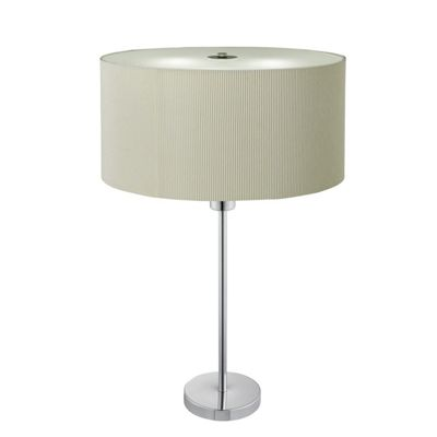 Drum Pleat Cream Shade 2 Light Table Lamp Frosted Glass Diffuser