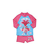 Hasbro Trolls Poppy UPF 50+ Rash Vest and Shorts Set - Blue & Pink