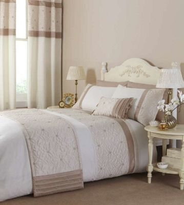 Catherine Lansfield Home Fine Luxury Collection Lois Double Bed Duvet Cover Set Natural
