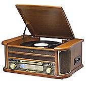 Denver MCR-50 Retro Wooden 6-In-1 Vinyl Record Player