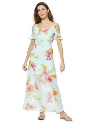 Mela London Floral Print Cold Shoulder Maxi Dress Blue/Multi 8