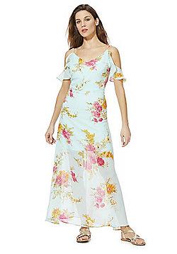 Mela London Floral Print Cold Shoulder Maxi Dress - Blue & Multi