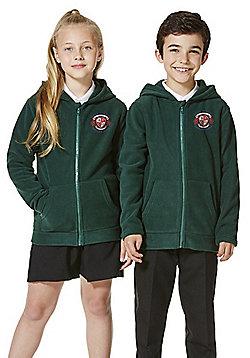 Unisex Embroidered School Zip-Through Fleece with Hood - Green