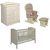 Tutti Bambini Alexia 2 Piece + Glider Chair Nursery Room Set - Vanilla