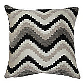 McAlister Soft Chenille Cushion - Black Chevron Design