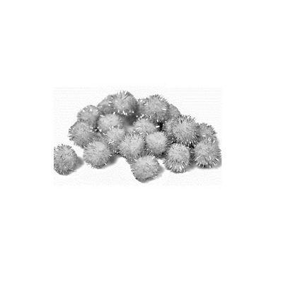 Impex Silver Glitter Pom Poms 0.5 Inches