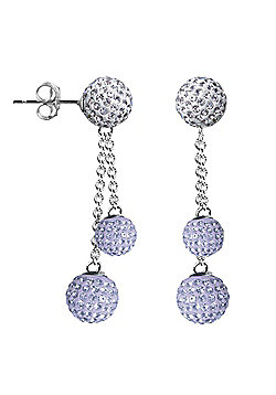 Jewelco London Sterling Silver Crystal Lilac + White Shamballa Earrings - 6mm & 8mm