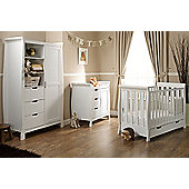 Obaby Stamford Mini Cot Bed 4 Piece Sprung Mattress Nursery Room Set - White