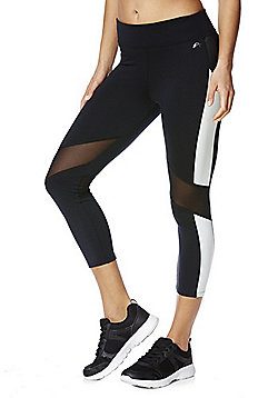 F&F Active Mesh Panel and Side Stripe Cropped Leggings - Black & White