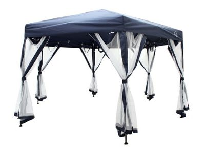 All Seasons Gazebo 2mx2mx2m Instant Pop Up Hexagonal gazebo With 6 Sides Panels, Leg Weight Bags, Carry Bag And 2 Windbars in Navy Blue