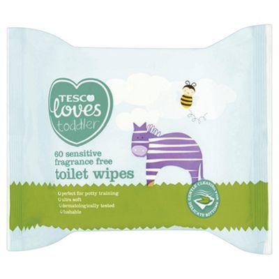 Tesco Loves Toddler Sensitive Toilet Wipes Fragrance Free X 60