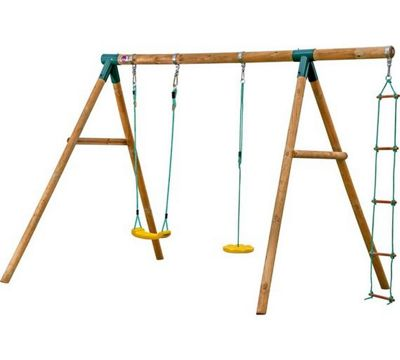 Swing Set - Macaque Wooden Swing Set with 2 Swing Seats and Rope Ladder - Plum