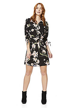 F&F Floral Print Belted Shirt Dress - Black multi