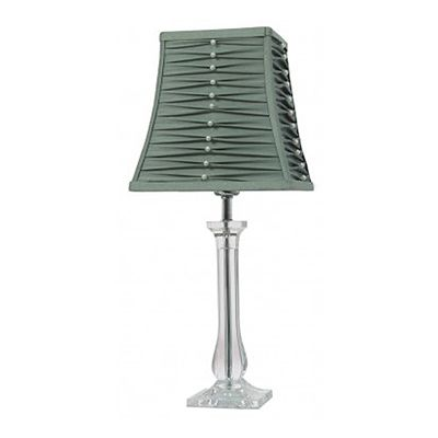Balmoral Acrylic Table Lamp With Pleated Duck Egg Shade