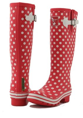Evercreatures Ladies Evergreen Wellies White Polka Dots in Red - Size 7 (UK)