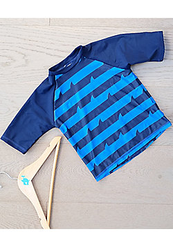 Big Fisch Boys UV Rash Top | Royal Stripe - Navy & Blue
