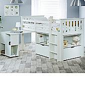 Happy Beds Milo Wood Kids Midsleeper Desk Storage Bed with Pocket Spring Mattress - White - 3ft Single