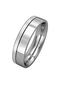 9ct White Gold - 5mm Flat-Court with Fine Groove Wedding Ring