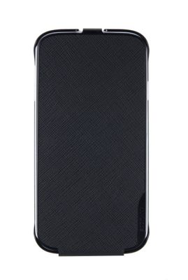 Samsung Elite Saffiano Pattern Passport Leather Vertical Flip Case for Galaxy S4 - Black