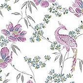 Laurence Llewelyn-Bowen Singapore Trail Floral Oriental Glitter Wallpaper