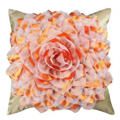 Flower Cushion - Gold & Terracotta