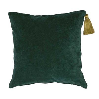Miss Etoile Cushion Square Green Velvet with Gold Tassel 50 x 50 cm