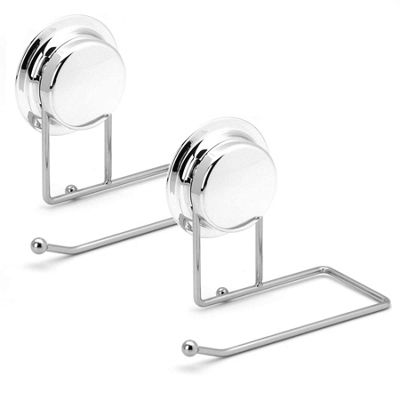 Bathroom Toilet Roll Paper Holder With Strong Vacuum Suction Cup - Silver x2