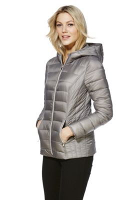 F&F Packable Downfill Padded Hooded Jacket 10 Grey