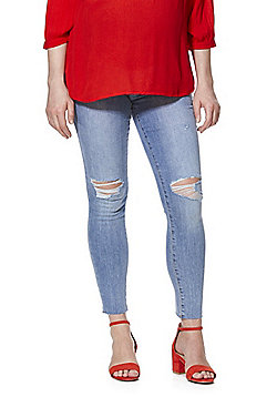F&F Ripped Knee Over-Bump Maternity Jeans - Mid Wash