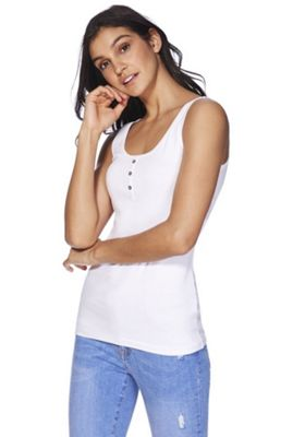 F&F Ribbed Vest Top White 6